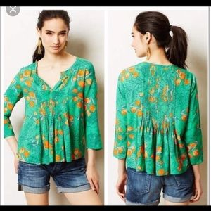 vanessa virginia green poppy blouse